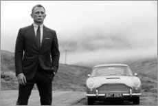 Cuadro de madera  Daniel Craig en James Bond en blanco y negro - Celebrity Collection