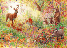 Cuadro de metacrilato  Bosque encantado con animales - Heather Kilgour