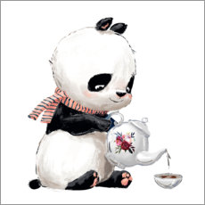 Lienzo  Hora del té con panda - Kidz Collection