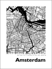 Póster  Mapa de amsterdam - 44spaces