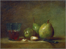 Vinilo para la pared  Pears, nuts, and a cup of wine - Jean Simeon Chardin