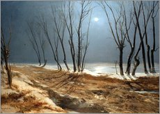 Vinilo para la pared Landscape in Winter at Moonlight