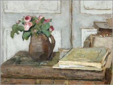 Vinilo para la pared  Still life with the artist painting set and a vase with moss roses - Edouard Vuillard