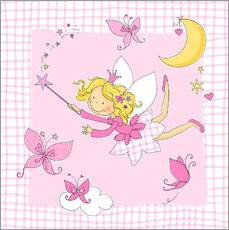 Vinilo para la pared flying fairy with butterflies on checkered background