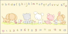 Vinilo para la pared  baby pet animals with alphabet and numbers - Fluffy Feelings