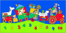 Vinilo para la pared  tractor train with farm animals and numbers - Fluffy Feelings