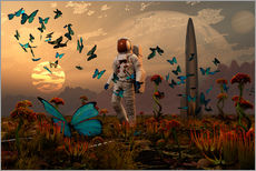 Vinilo para la pared  A astronaut is greeted by a swarm of butterflies on an alien world. - Mark Stevenson