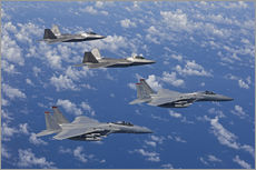 Vinilo para la pared  Two F-15 Eagles and F-22 - HIGH-G Productions