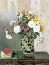 Vinilo para la pared  Bouquet of Flowers, Chrysanthemums in a Chinese Vase - Camille Pissarro
