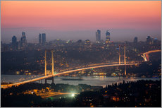 Vinilo para la pared  Bosporus-Bridge at Night (Istanbul / Turkey) - gn fotografie