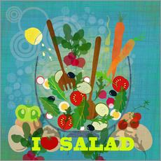 Vinilo para la pared I love Salad