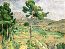 Vinilo para la pared  Landscape with viaduct: Montagne Sainte-Victoire, c.1885-87 - Paul Cézanne