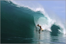 Cuadro de plexi-alu  Surfing in a huge green wave, tropical island paradise - Paul Kennedy