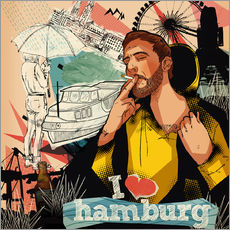 Vinilo para la pared  I love Hamburg - Sugah