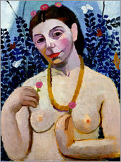 Vinilo para la pared  Paula Modersohn-Becker as half nude with amber necklace II - Paula Modersohn-Becker