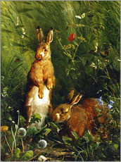 Vinilo para la pared  Rabbits in a meadow - Olaf August Hermansen