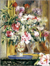 Lienzo  Vase of flowers in front of the mirror - Pierre-Auguste Renoir