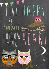 Cuadro de plexi-alu  Live Happy, be yourself, follow your heart - GreenNest