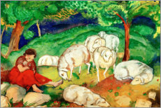 Lienzo  Shepherdess with sheep - Franz Marc
