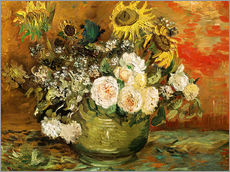 Cuadro de plexi-alu  Roses and sunflowers - Vincent van Gogh