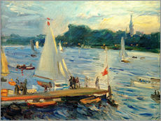 Vinilo para la pared  Sailboats on the Alster Lake in the evening - Max Slevogt