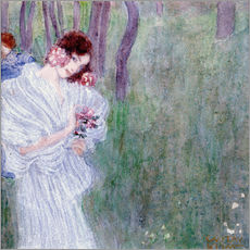 Vinilo para la pared  Girl with flowers at the edge of a forest - Gustav Klimt