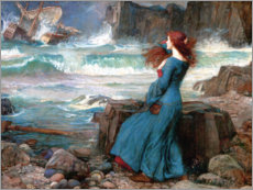 Cuadro de aluminio  Miranda y la tormenta - John William Waterhouse