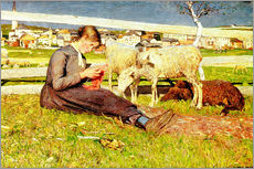 Vinilo para la pared  A Girl Knitting - Giovanni Segantini