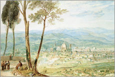 Vinilo para la pared  Florence from the road to Fiesole - Joseph Mallord William Turner