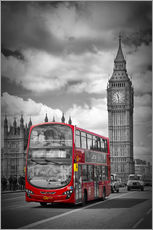 Vinilo para la pared  LONDON Red Bus and Big Ben - Melanie Viola