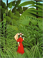 Vinilo para la pared  Woman in red in forest - Henri Rousseau