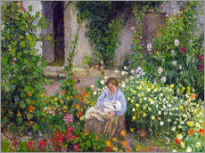 Vinilo para la pared  Mother and Child in the Flowers - Camille Pissarro