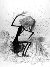 Vinilo para la pared  Caricature depicting Franz Liszt playing the piano - French School