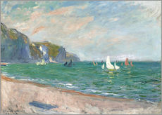 Vinilo para la pared  Boats under the cliffs of Pourville - Claude Monet