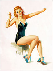 Vinilo para la pared  Pin Up - Seated Redhead in Swimsuit - Al Buell