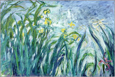 Vinilo para la pared  Yellow and Purple Irises - Claude Monet