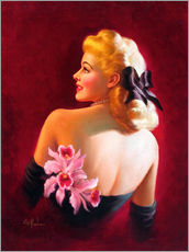 Cuadro de plexi-alu  Glamour Pin Up with Pink Orchids - Art Frahm