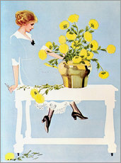 Vinilo para la pared  Housekeeper with bouquet - Clarence Coles Phillips