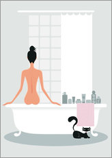 Vinilo para la pared  bathing kitty - Ping Lee