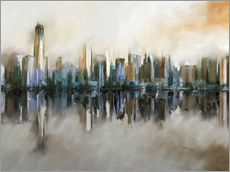 Cuadro de plexi-alu  new york skyline abstract painting - Michael artefacti