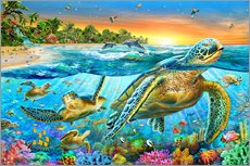 Vinilo para la pared  Underwater turtles - Adrian Chesterman
