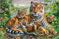 Cuadro de plexi-alu  Tiger and Cubs - Adrian Chesterman