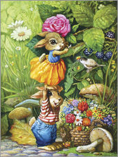 Vinilo para la pared  Rabbits picking flowers - Petar Meseldzija