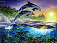 Vinilo para la pared  Atlantic dolphins - Adrian Chesterman