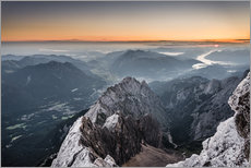 Vinilo para la pared  Sunrise from Zugspitze mountain with view across the alps - Andreas Wonisch