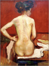 Cuadro de aluminio  Back View of Sitting Female Nude with Red Background - Edvard Munch