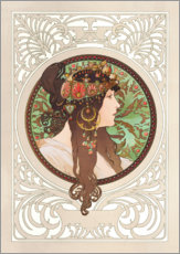 Vinilo para la pared  Medallion with oriental woman - Alfons Mucha