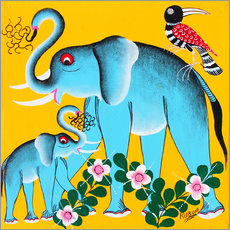 Vinilo para la pared  Elephants in the care - Rubuni