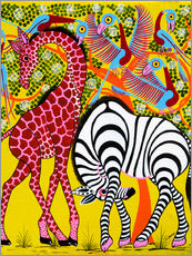 Cuadro de plexi-alu  Zebra with Giraffe in the bush - Omary