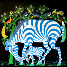 Cuadro de plexi-alu  Blue Zebras at night - Rafiki